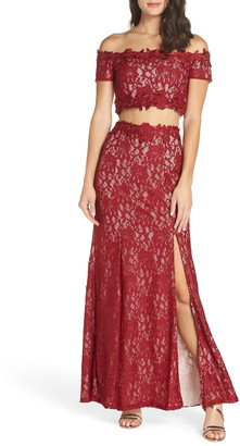 975d2e90247 Sequin Hearts Two-Piece Off the Shoulder Lace Gown