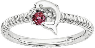 FINE JEWELRY Lab-Created Ruby and Diamond-Accent Sterling Silver Stackable Dolphin Ring