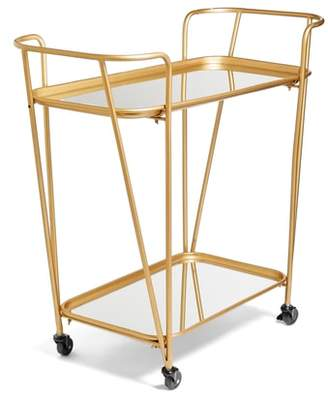 E2 CONCEPTS Metal Mirrored Rolling Bar Cart