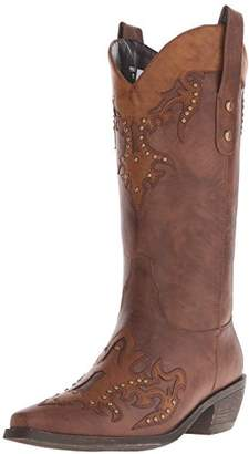 """AdTec Women's 13"""" Western Pull On Accents Studs -W Boot"""
