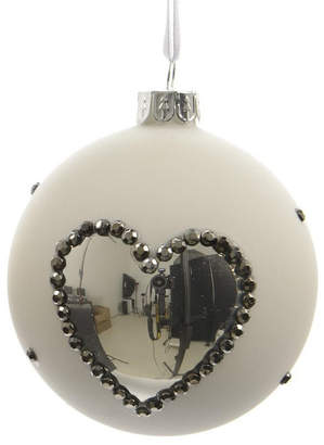 Asstd National Brand Set of 3 Winter Light White with Silver Heart Glass Christmas Ball Ornaments 3 (80mm)