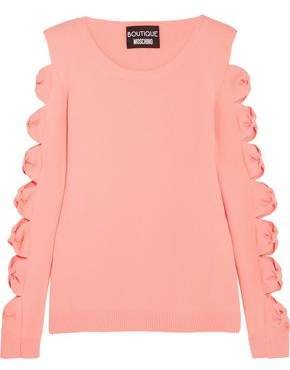Moschino Cutout Bow-Detailed Stretch-Knit Sweater