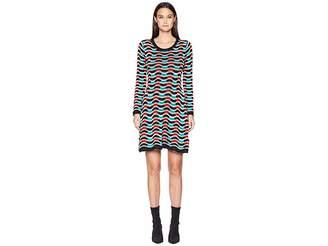 M Missoni Checker Ripple Long Sleeve Dress