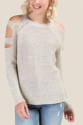 francesca's Pacey Slashed Shoulder Sweater - Taupe