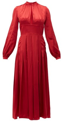 Raquel Diniz Alma Pleated Silk Satin Dress - Womens - Red