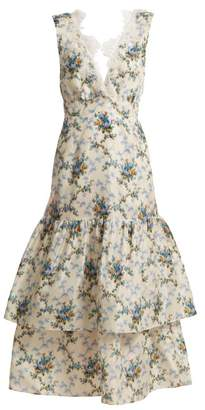 Brock Collection Lace Detail Floral Print Dress - Womens - Blue Print