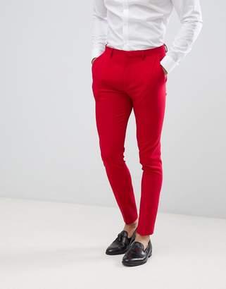 Asos DESIGN super skinny suit pants in red