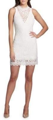 Kensie Dresses Illusion Lace Highneck Sheath Dress