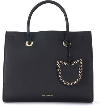 Karl Lagerfeld Karry All Black Tumbled Leather Handbag