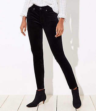 LOFT Curvy Velvet Skinny Jeans in Black