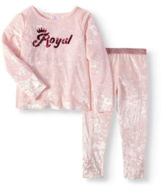 365 Kids From Garanimals Girls' Long Sleeve Sequin Velour Top & Bow Pants, 2pc Outfit Set