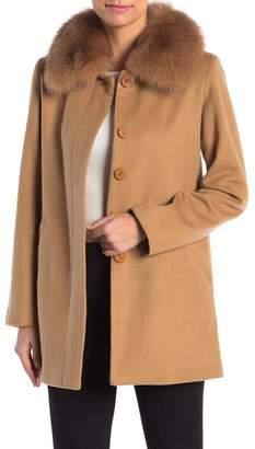 Sofia Cashmere Genuine Fox Fur Collar Car Coat