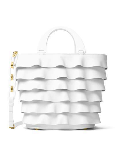 MICHAEL Michael Kors Michael Kors Stanwyck Ruffled Leather Tote Bag, White