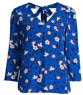Draper James Women's Shadow Floral Blouse - Royal Blue - Size 0