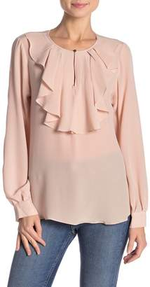 Hale Bob Silk Ruffled Long Sleeve Blouse