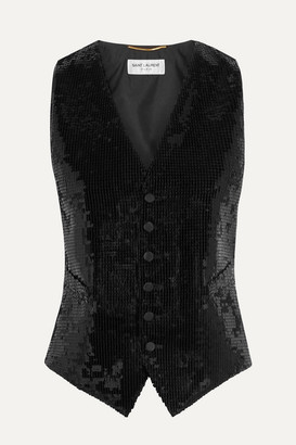 Saint Laurent Satin And Sequined Wool Vest - Black