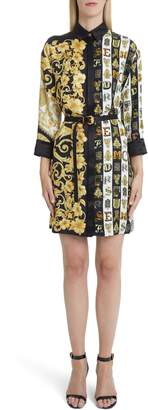Versace First Line Mixed Print Silk Shirtdress