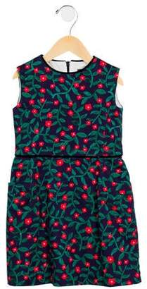 Oscar de la Renta Girls' Sleeveless Floral Print Dress
