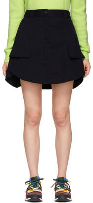 Carven Navy Panelled Miniskirt