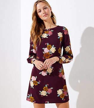 LOFT Petite Floral Cuffed Shift Dress
