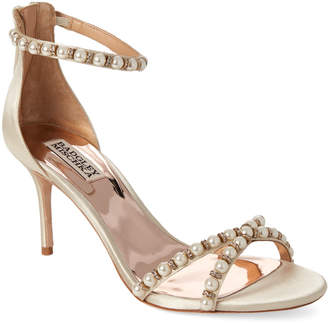 Badgley Mischka Ivory Hannah Embellished Satin Sandals