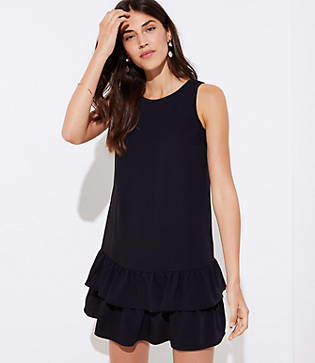LOFT Petite Cutout Flounce Swing Dress