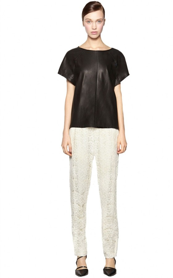 Madlyn Leather Boxy Tee