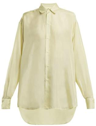 BEIGE By. bonnie young By. Bonnie Young - Point Collar Silk Crepe De Chine Shirt - Womens