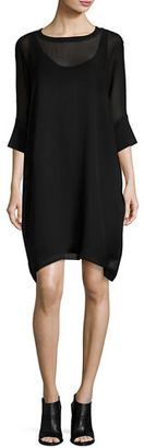 Eileen Fisher Silk Georgette Round-Neck Shift Dress, Plus Size $318 thestylecure.com