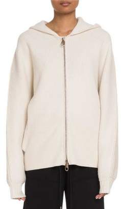 Chloé Chunky Cashmere Zip-Front Hooded Sweater