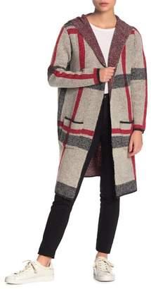 Joseph A Plaid Long Hooded Cardigan (Petite)