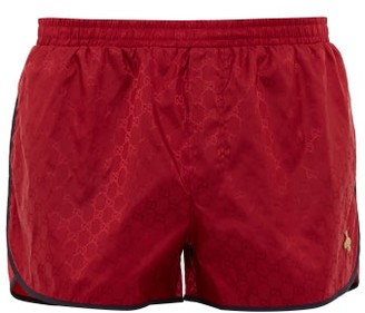 Gucci Gg Bee Applique Swimshorts - Mens - Red Multi