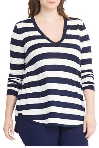Lauren Ralph LaurenLauren Ralph Lauren Plus Silk-Blend V-Neck Sweater