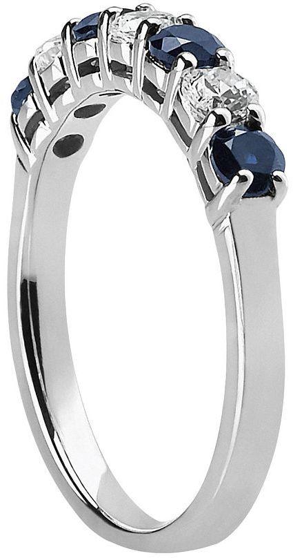 14k White Gold Sapphire & 1/3-Ct. T.w. Round-Cut Diamond Ring