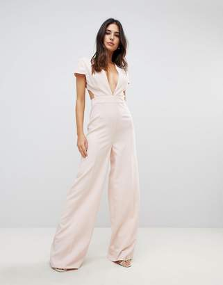 Asos DESIGN Plunge Neck Jumpsuit with Wide Leg and Open Back