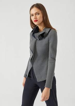 Emporio Armani Jacket In Jersey Jacquard With Geometric Design And Ruffle Collar