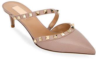 4c5629233b84 Valentino Rockstud Leather Kitten-Heel Mules