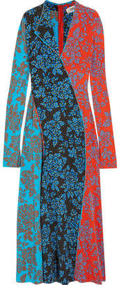 Diane von Furstenberg Paneled Printed Silk Maxi Dress - Blue