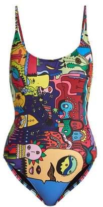 Ellie Rassia - Old Fashioned Print Swimsuit - Womens - Multi