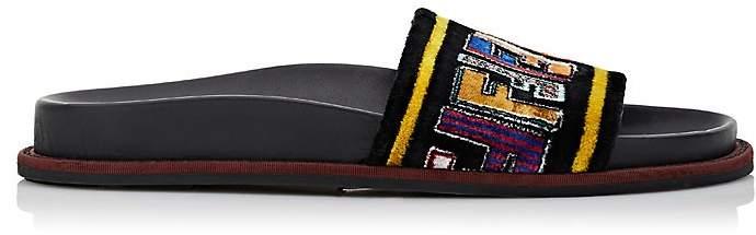 Fendi Women's Logo Velvet Slide Sandals
