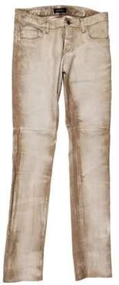 Jitrois Lambskin Distressed Straight-Leg Pants Tan Lambskin Distressed Straight-Leg Pants