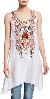 Johnny Was Beatriz Sleeveless Embroidered Linen Trapeze Tunic