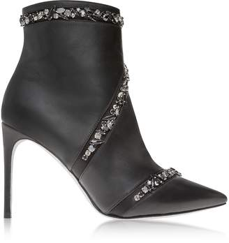 Rene Caovilla Black Leather Crystals High Heel Booties