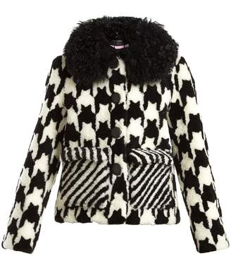 SAKS POTTS Lucy hound's-tooth shearling jacket