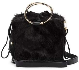 Milly Faux Fur Drawstring Bucket Handbag