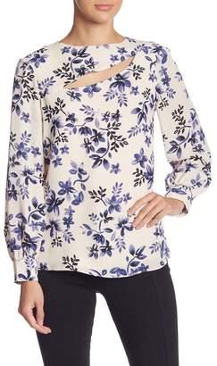 Parker Long Sleeve Cutout Floral Print Top