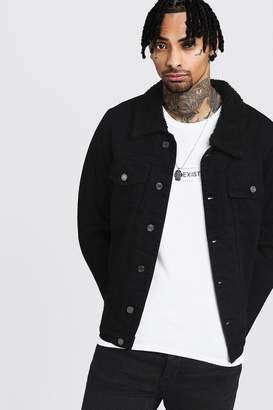 boohoo Fully Borg Lined Black Denim Jacket
