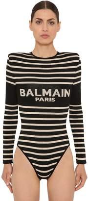 Balmain Logo Intarsia Viscose Knit Bodysuit