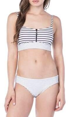Lauren Ralph Lauren Harrison Stripe Front Zip Bikini Top