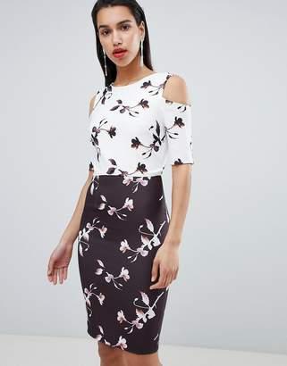Little Mistress Floral Print Contrast Pencil Dress